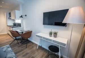 Die Möbel im Business Apartment sind nach einem Designkonzept ausgesucht.