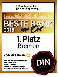 """Zertifikat: Die Commerzbank ist """"Beste Bank von Bremen""""."""